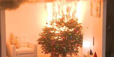 Kerstboom in brand