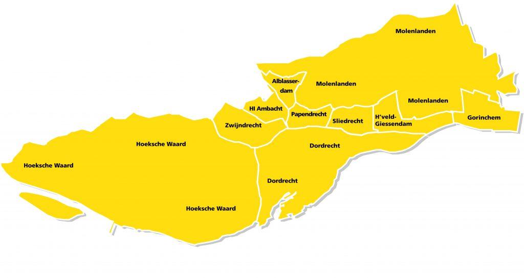 Kaart van Veiligheidsregio Zuid-Holland Zuid