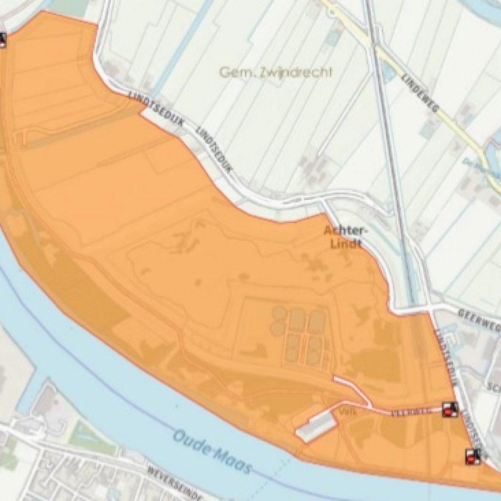 Kaart toont afgesloten gebied Veerplaat Zwijndrecht