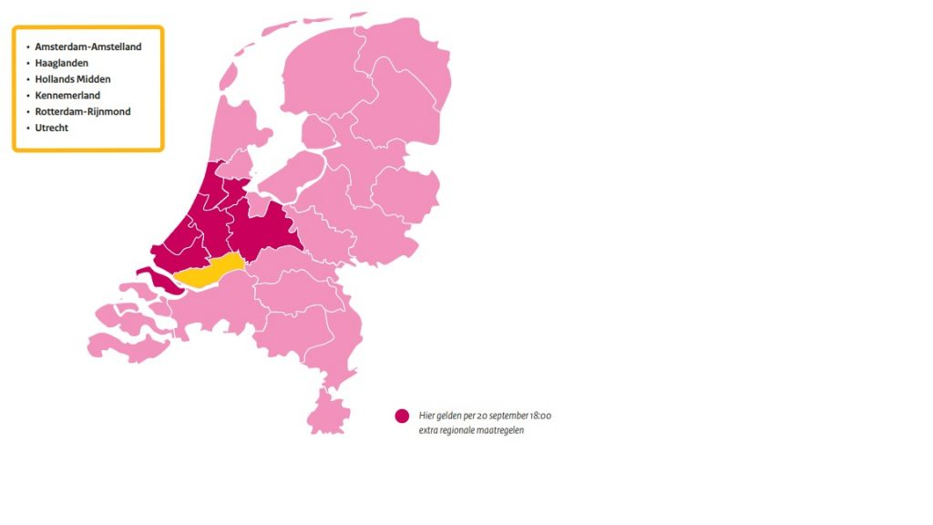 Landkaart Nederland met uitgelichte veiligheidsregio's met extra regionale coronamaatregelen