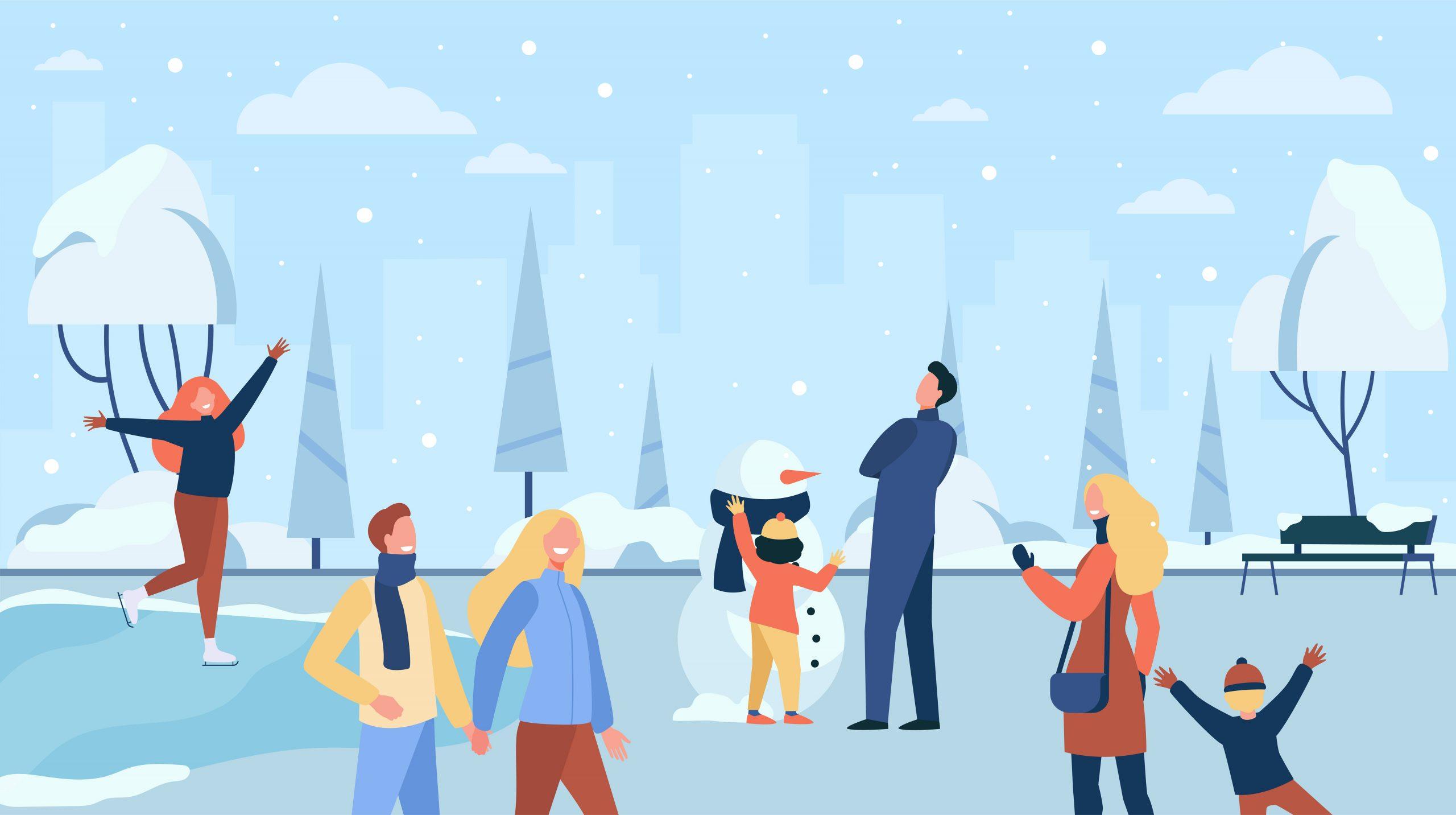 Clipart van mensen die sneeuwpret hebben