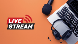Livestream met laptop, microfoon en headset