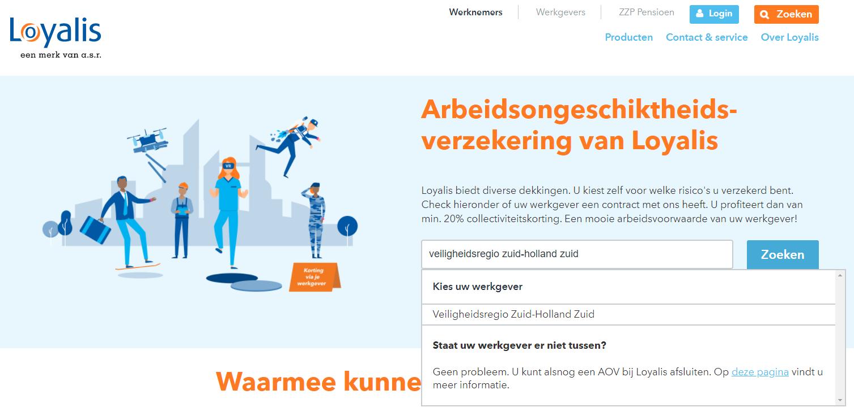 Screenshot van webpagina Loyalis Arbeidsongeschiktheidsverzekering