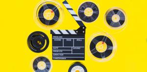 Film kleppen bord met rollen van video-opnames
